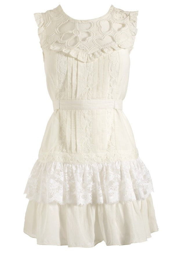 Lipsy Pixie Lace Frill Dress - Glitzy Angel