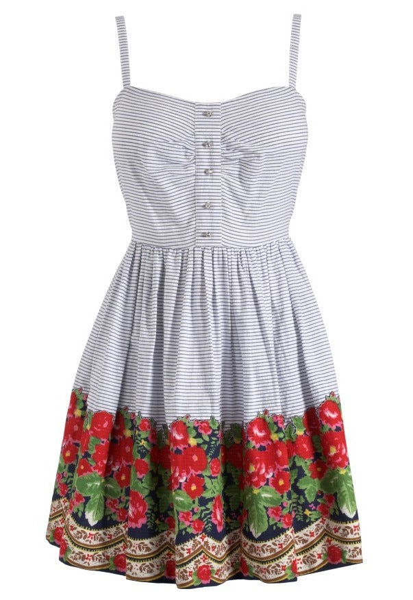 Lipsy Pixie Stripe Floral Border Dress - Glitzy Angel