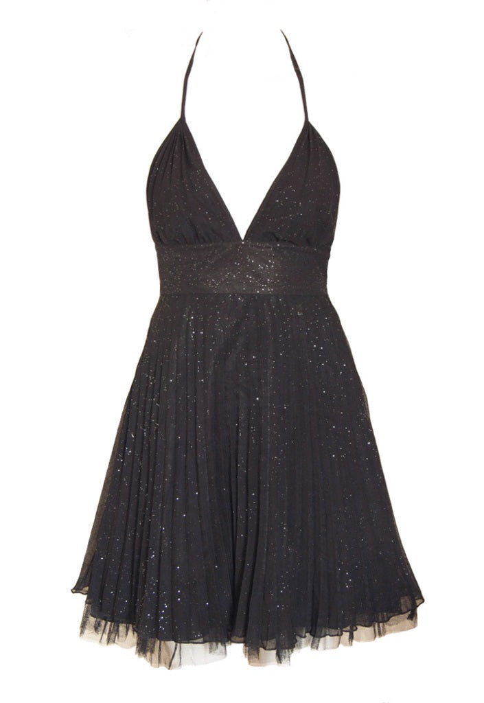 Lipsy Pleated Halter Neck Dress - Glitzy Angel