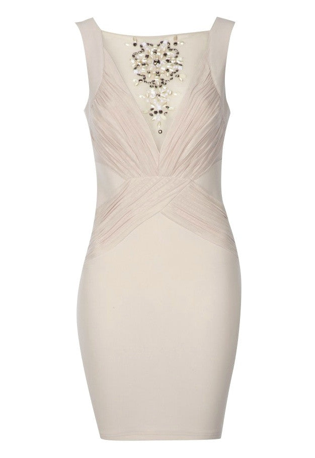 Lipsy Ruched Mesh Dress - Party Dresses - Glitzy Angel