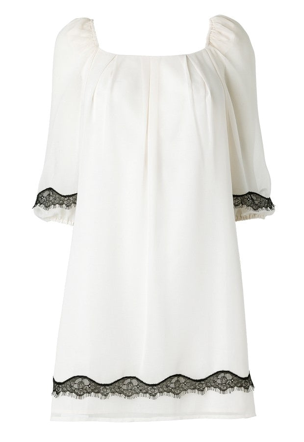 Lipsy Smock Dress With Lace Hem Detail - Glitzy Angel