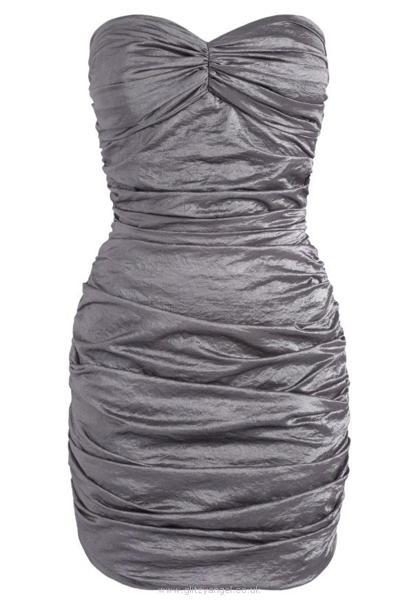 Lipsy Strapless Gathered Dress - Glitzy Angel