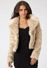 Lipsy Swirl Pelt Cropped Fur Jacket
