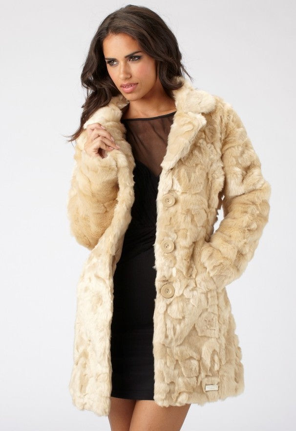 Lipsy Swirl Pelt Long Fur Coat - Glitzy Angel