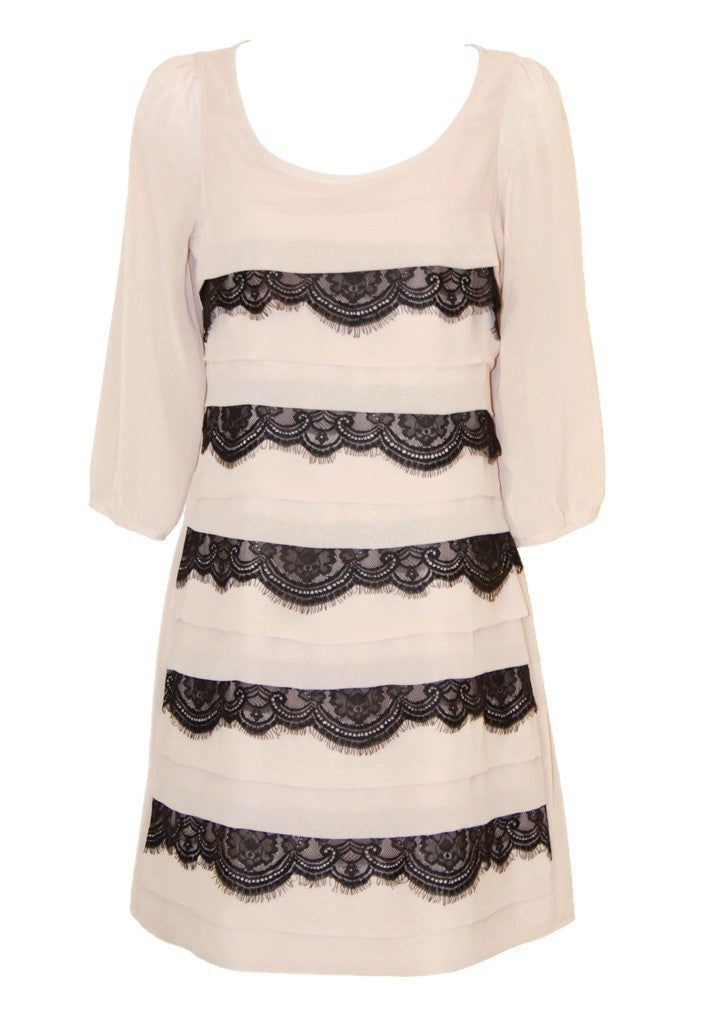 Lipsy Tiered Lace Shift Dress - Glitzy Angel