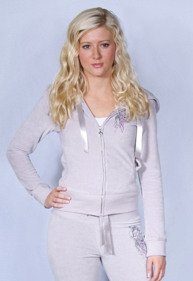 Lipsy Feather Logo Heart Hoodie - Glitzy Angel