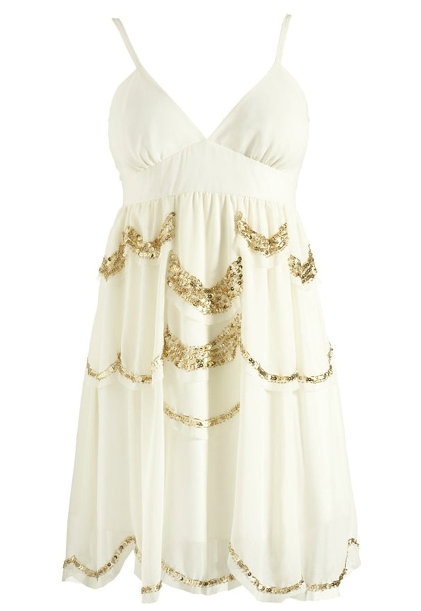 Lipsy Vintage Beaded Babydoll Dress - Glitzy Angel