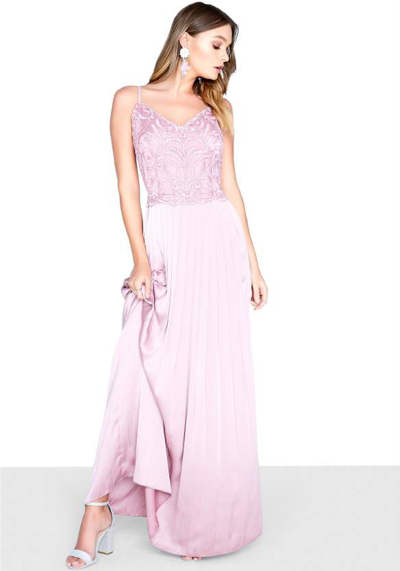 Little Mistress Blush Satin Maxi