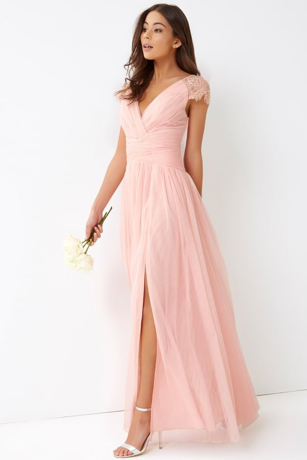 Little Mistress Pink Tulle Maxi Dress
