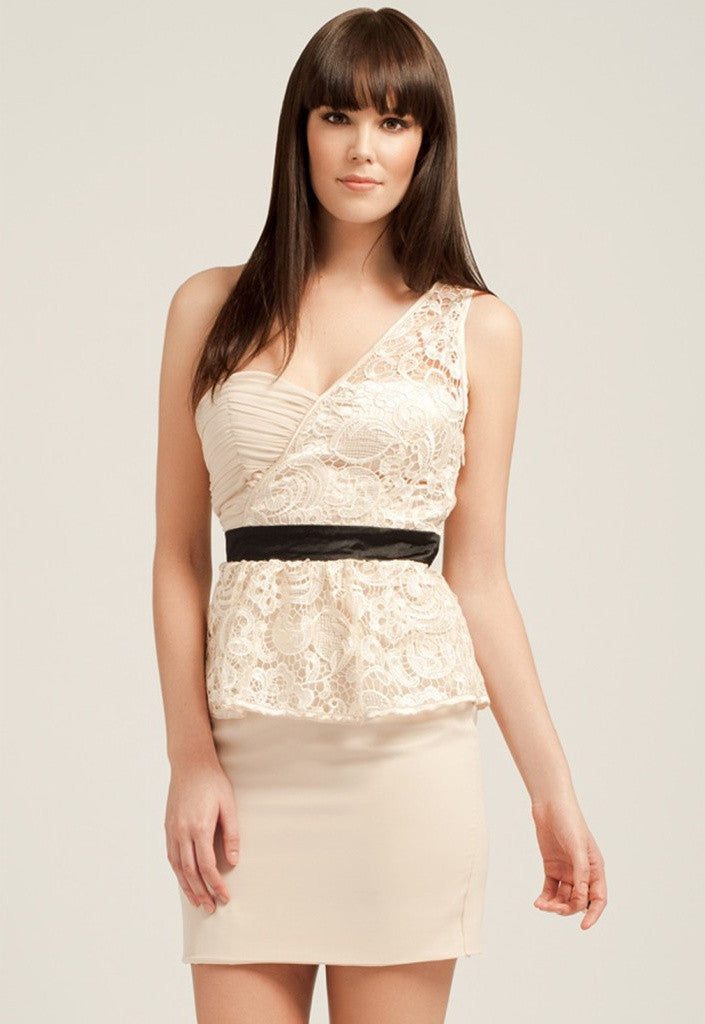 Little Mistress Cream One Shoulder Peplum Party Dress - Glitzy Angel
