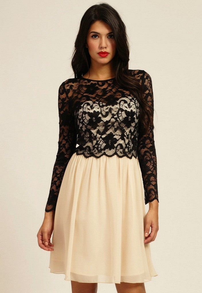 Little Mistress Black & Cream Floral Lace Detail Long Sleeve Dress - Glitzy Angel