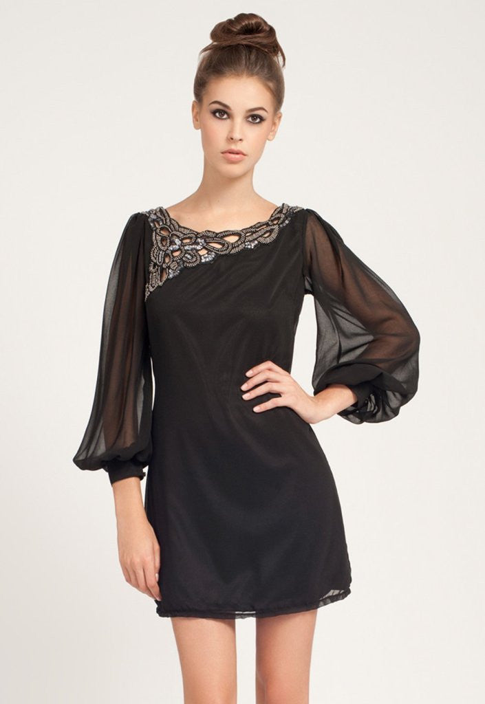 Little Mistress Black Embellished Neckline Chiffon Swing Dress - Glitzy Angel