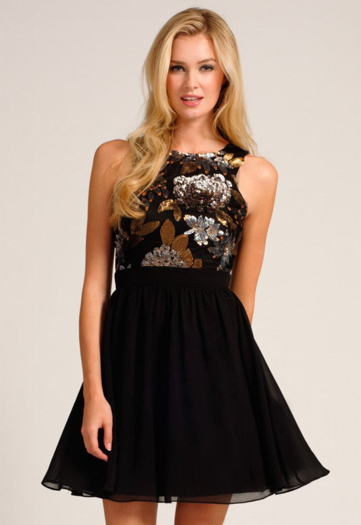Little Mistress Black Gold Heavily Embellished Racer Front Fit Flare Dress - Glitzy Angel