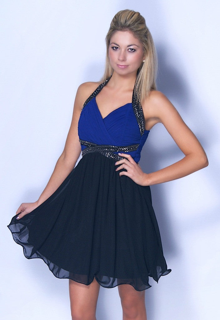 Little Mistress Blue and Black Halterneck Dress - Party Dresses - Glitzy Angel
