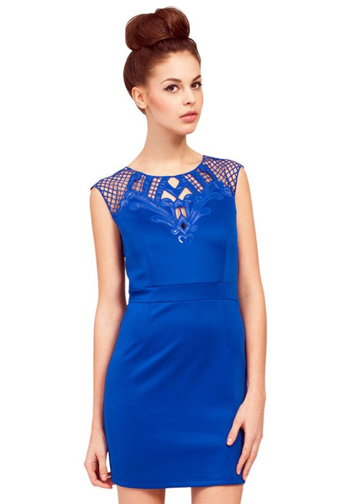 Little Mistress Blue Mesh Cutout Dress - Wedding Guest Dresses - Glitzy Angel