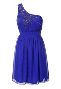 Little Mistress Blue One Shoulder Embellished Chiffon Party Dress - Glitzy Angel