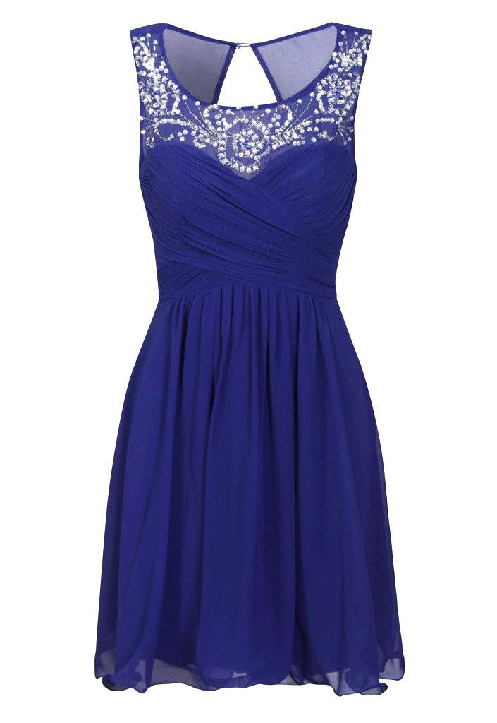 Little Mistress Cobalt Embellished Neckline Prom Dress - Glitzy Angel