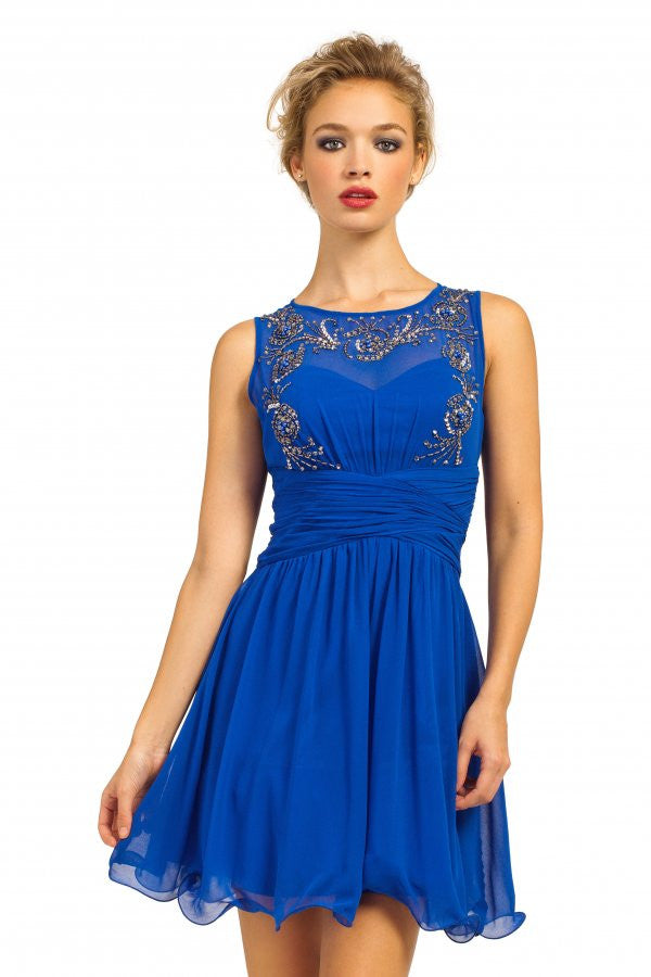 Little Mistress Cobalt Heavily Embellished Pleated Waist Sleeveless Prom Dress - Glitzy Angel