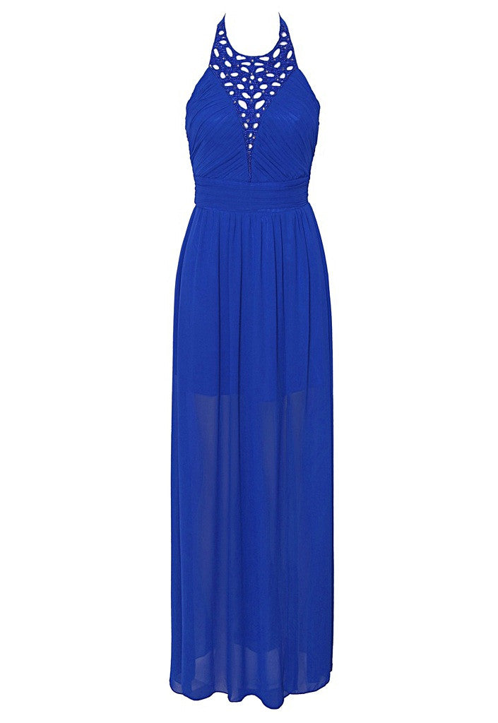 Little Mistress Cobalt Embellished Cutout Detail Halterneck Maxi Dress - Glitzy Angel