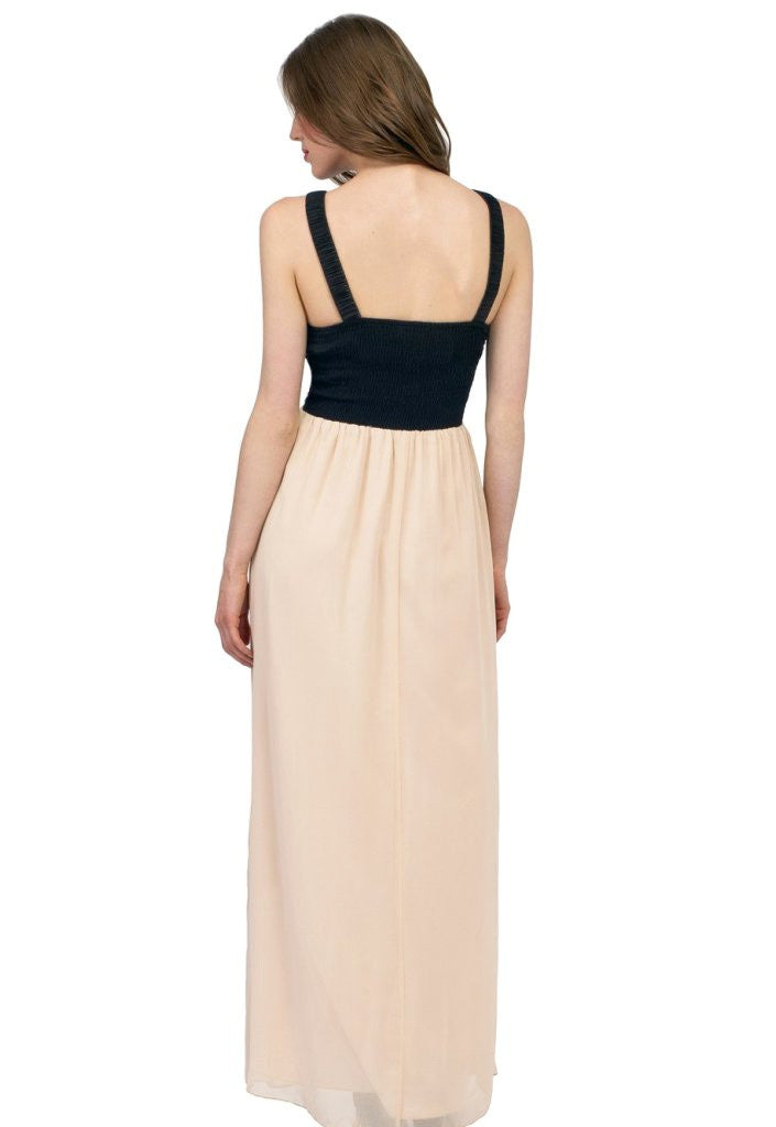 Little Mistress Cream and Black Embellished Maxi Dress - Glitzy Angel