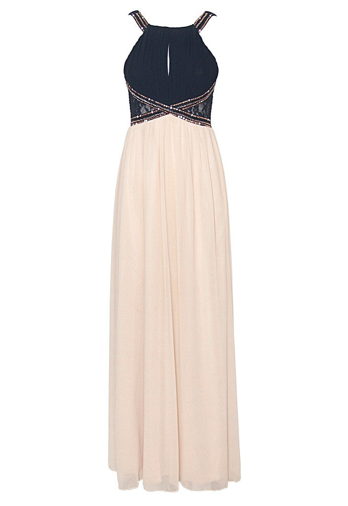 Little Mistress Cream Black Embellished Wedding Guest Maxi
