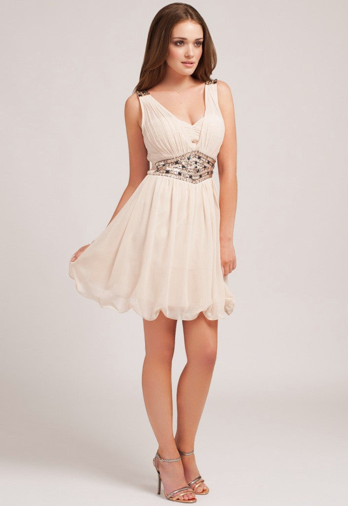 Little Mistress Cream Embellished Prom Dress - Short Dresses - Glitzy Angel