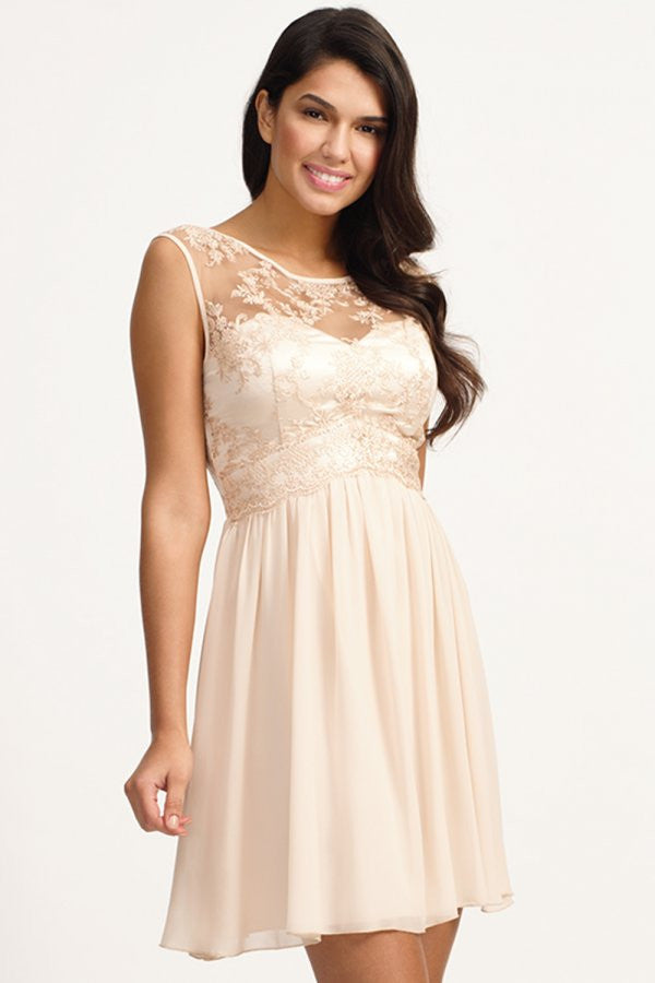 Little Mistress Cream Floral Lace Fit and Flare Dress - Glitzy Angel