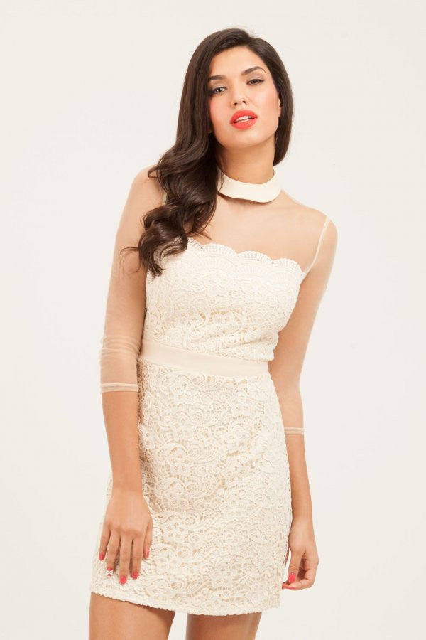 Little Mistress Cream Lace Overlay Mesh Shift Dress - Glitzy Angel
