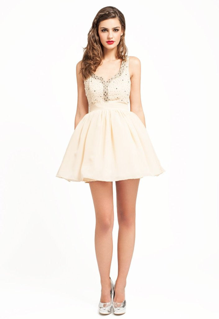 Little Mistress Diamante Sweetheart Neck Prom Dress - Glitzy Angel