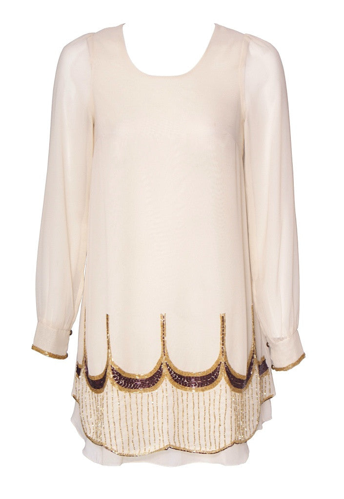 Little Mistress Cream Chiffon Scallop Beaded Dress - Glitzy Angel