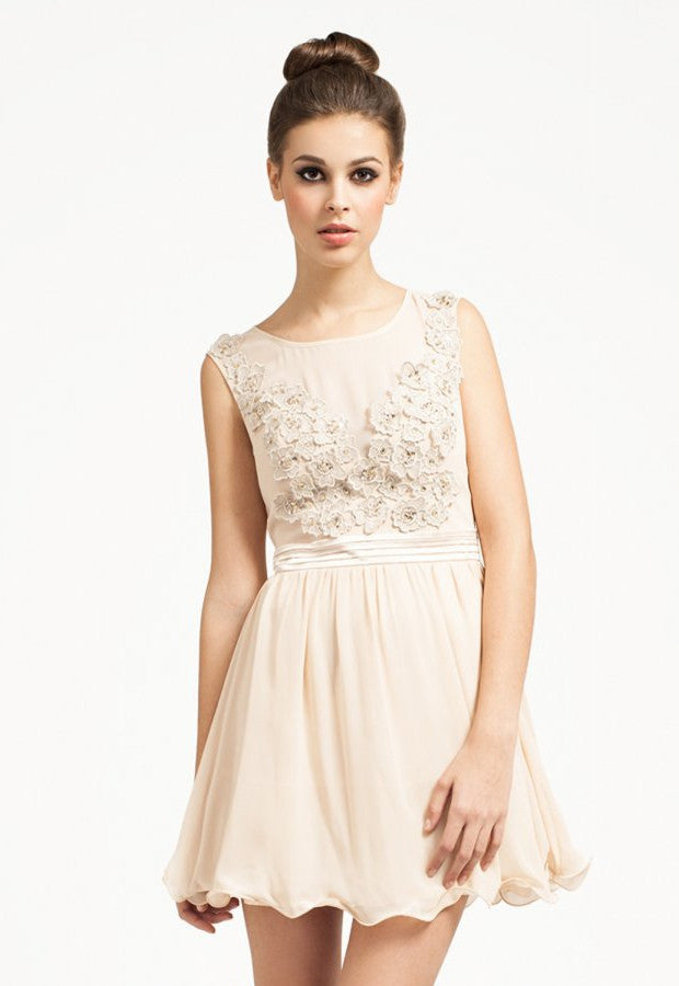 Little Mistress Cream With Flower Detail Prom Dress - Glitzy Angel