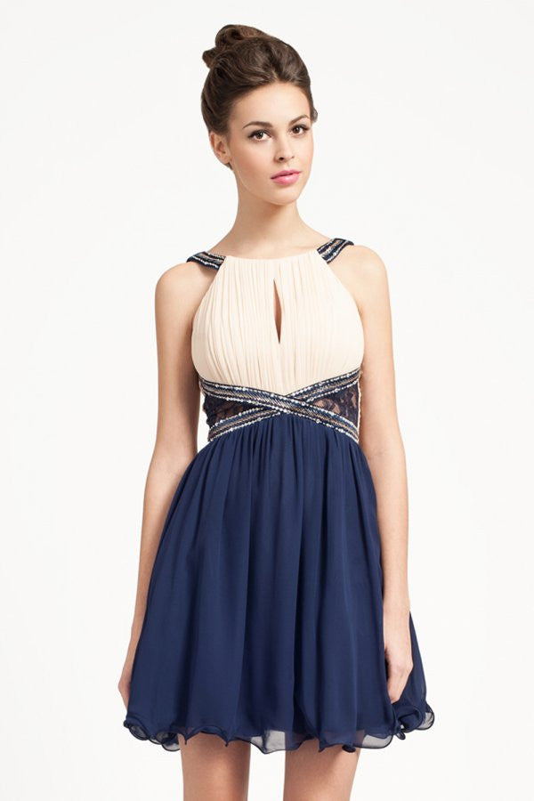 Little Mistress Cream and Navy Embellished Straps Lace Panel Dress - Glitzy Angel