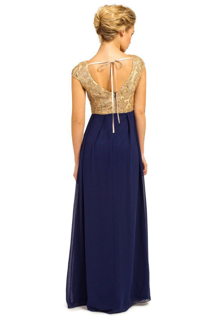 Little Mistress Gold & Navy Heavily Embellished Detail Chiffon Maxi Dress - Glitzy Angel