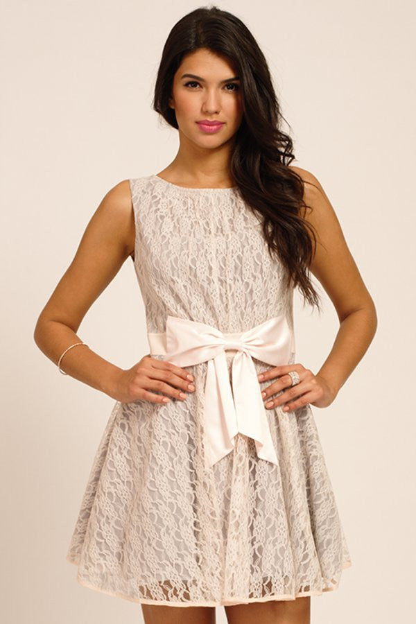Little Mistress Grey Lace Overlay Bow Front Prom Dress - Glitzy Angel