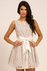 Little Mistress Grey Lace Overlay Bow Front Prom Dress