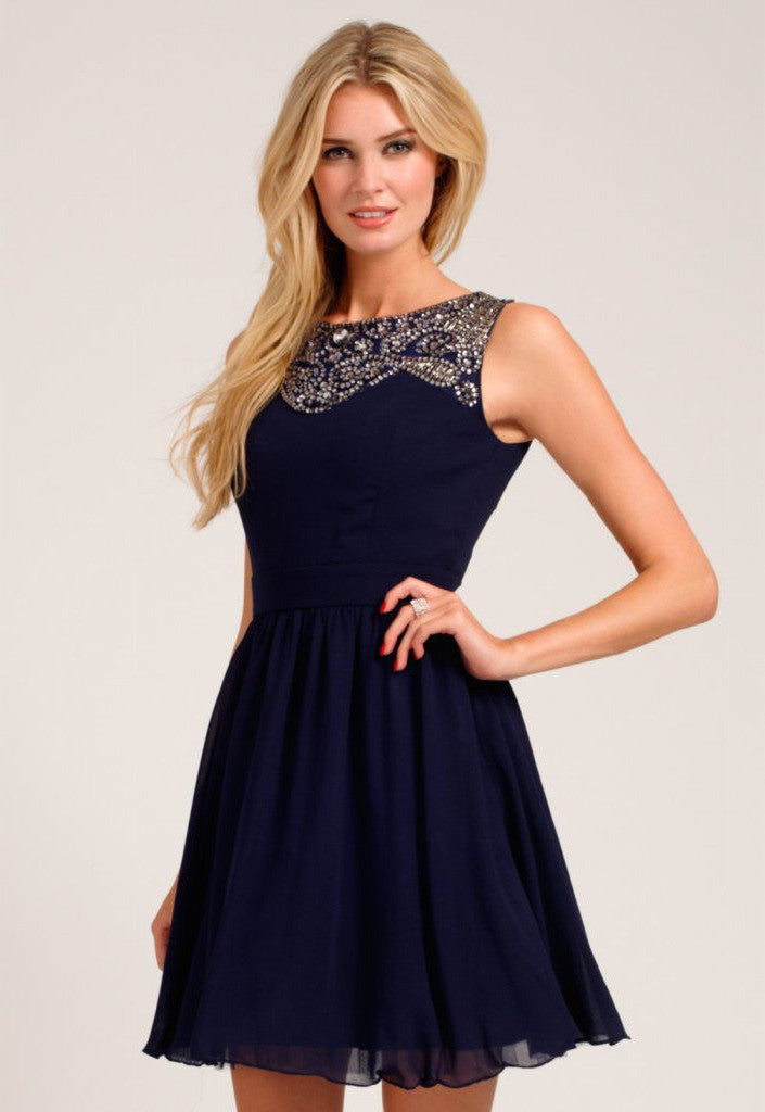 Little Mistress Navy Embellished Lace Detail Sweetheart Neckline Prom Dress - Glitzy Angel