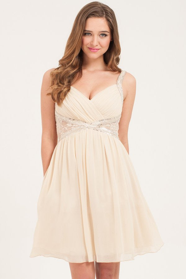 Little Mistress Nude & Silver Embellished Prom Dress - Glitzy Angel
