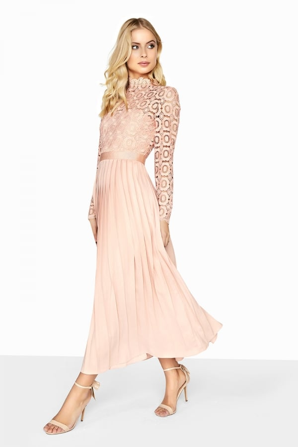 Little Mistress Peach Pleat Dress