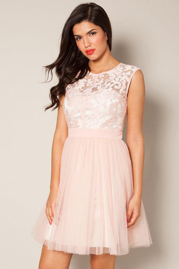 Little Mistress Pink Floral Lace Prom Dress - Glitzy Angel