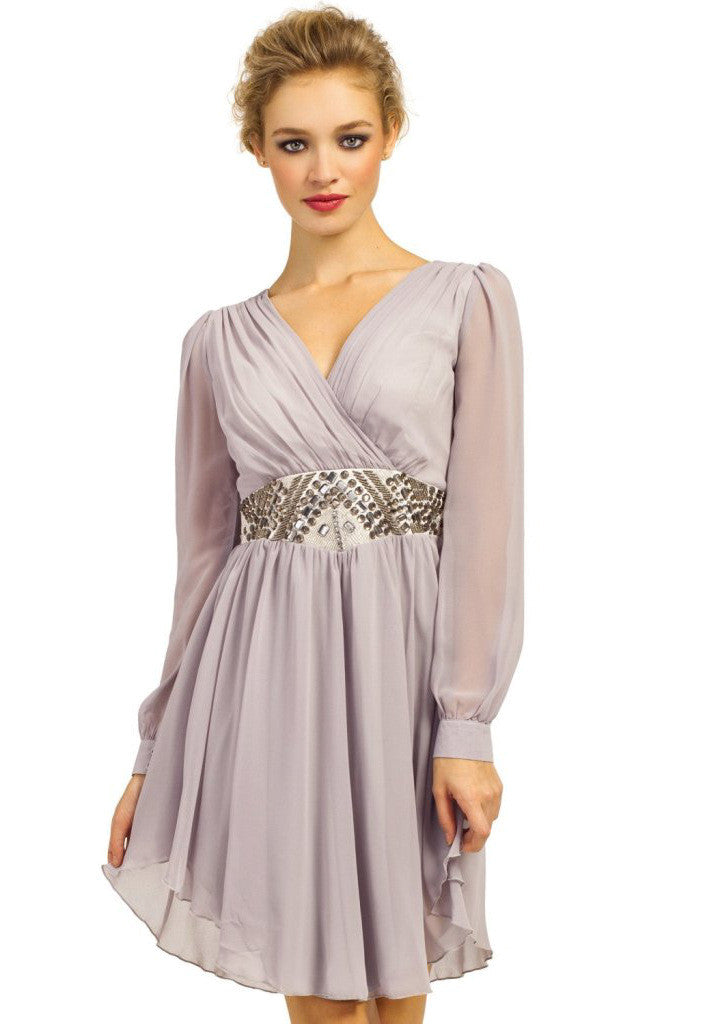 Little Mistress Smoke Grey Embellished Waist Dress - Sleeved Dresses - Glitzy Angel