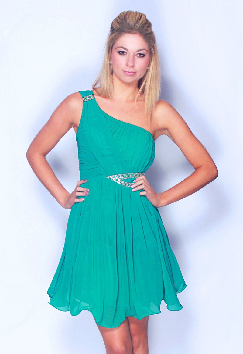 Little Mistress Teal One Shoulder Embellished Dress - Glitzy Angel