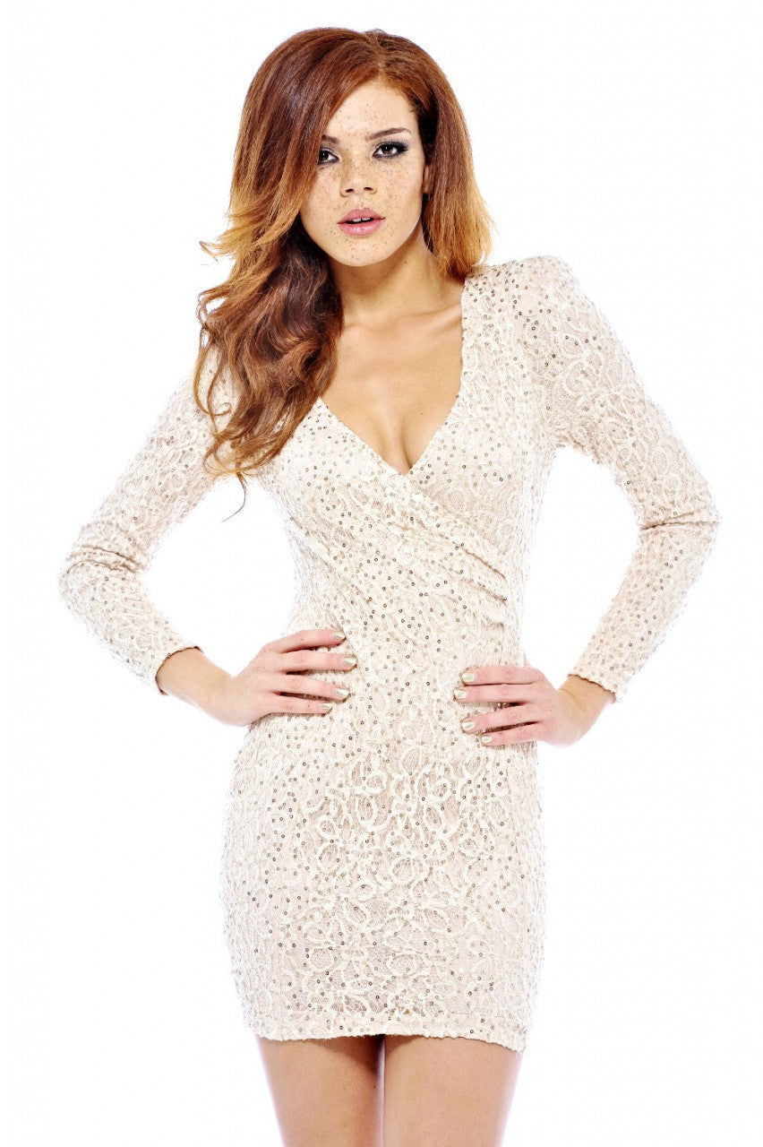 AX Paris Long Textured Sequin Sleeve V Front Dress - Glitzy Angel