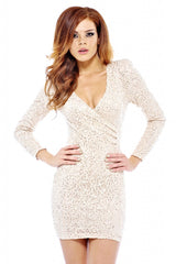 AX Paris Long Textured Sequin Sleeve V Front Dress
