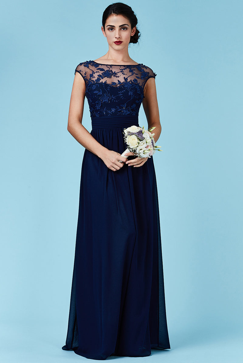 Goddiva Navy Chiffon Flower Detail Bridesmaid Dress