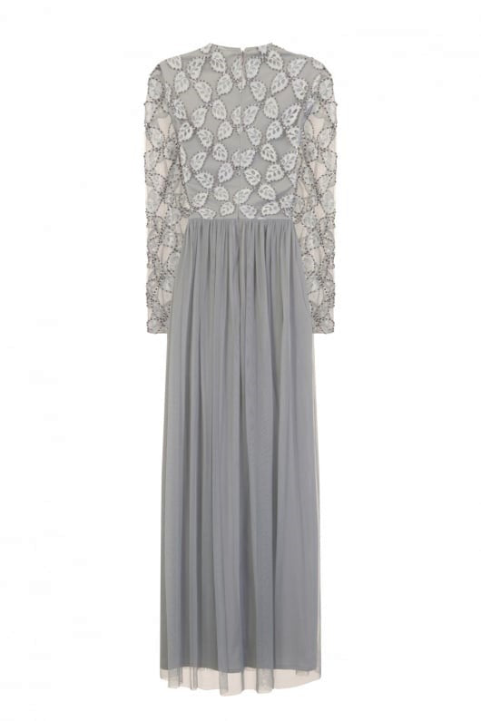 Outlet Little Mistress Luxury Grey Hand Embellished Embroidered Maxi Dress