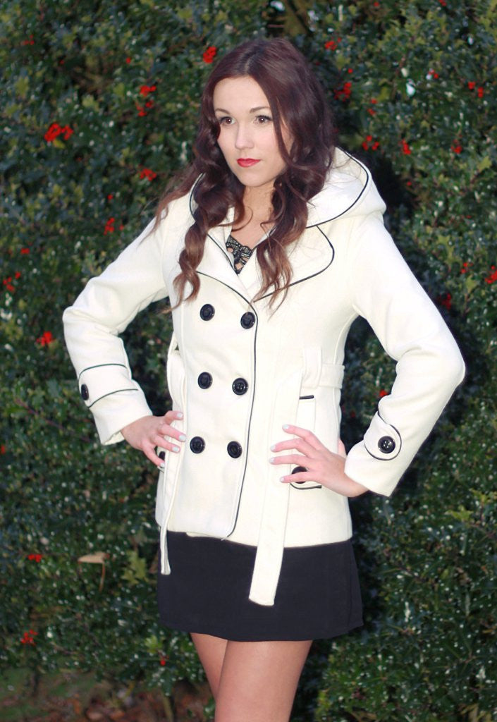 Cream Hooded Coat - Winter Jackets - Glitzy Angel