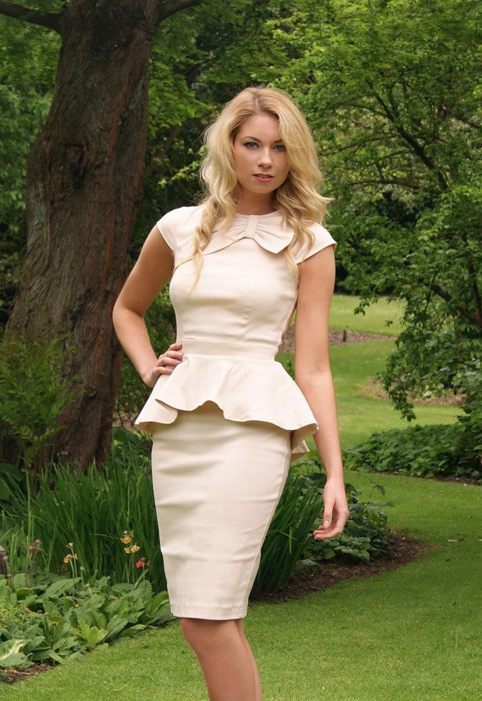 Paper Dolls Cream Pleated Peplum Dress - Dresses for Wedding Guests - Glitzy Angel