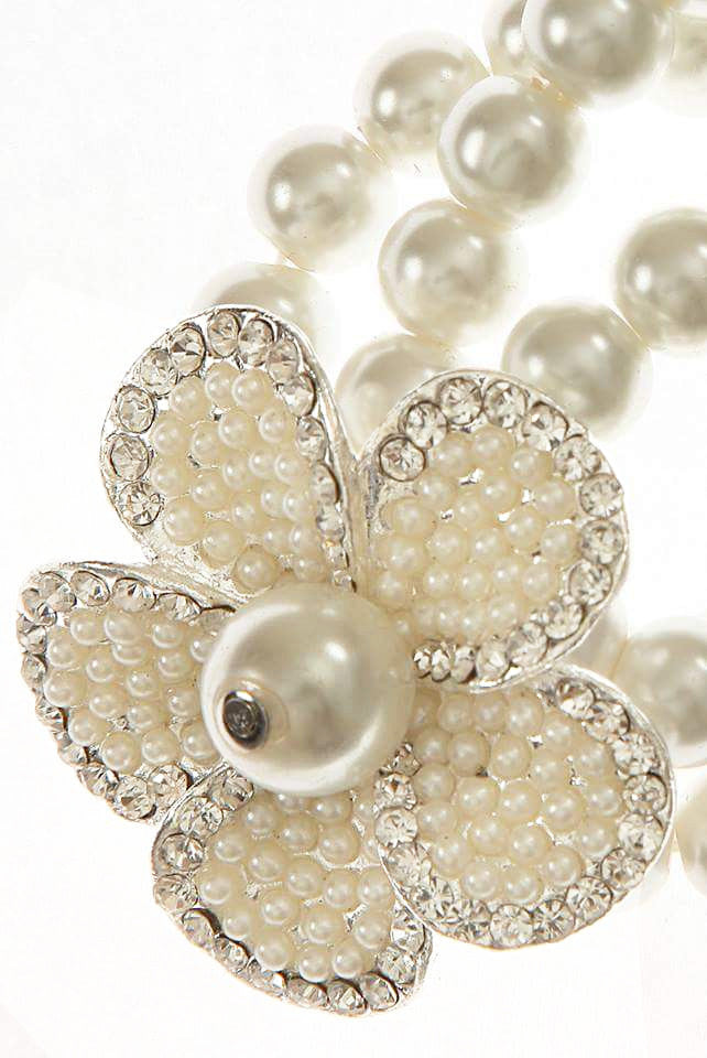 Pearl Flower Bangle - Glitzy Angel