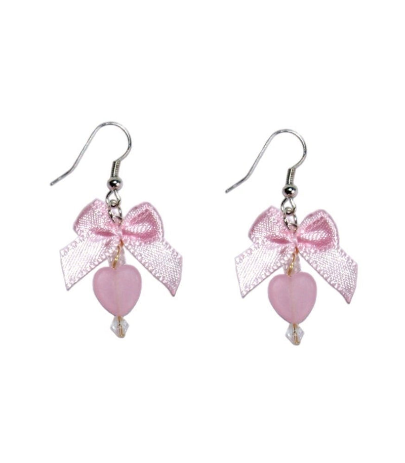 Pink Heart & Bow Earrings - Glitzy Angel