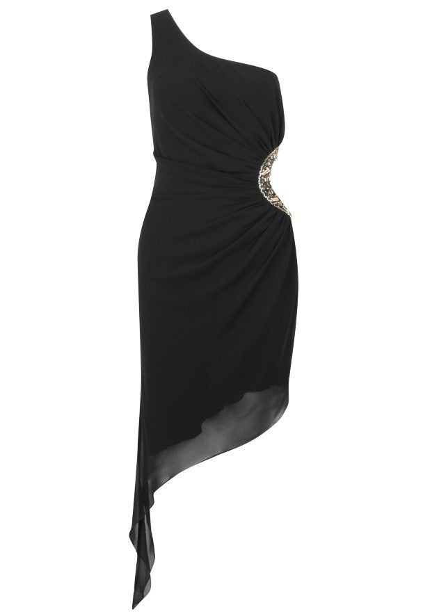 Pixie Asymmetric Side Cutout Dress - Black - Glitzy Angel